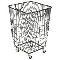 """Large Rectangular Black Metal Storage Basket With Wheels & Handles, 16""""x24"""""""