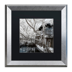 "Philippe Hugonnard 'Reflections' Art, Silver Frame, Black Matte, 16""x16"""