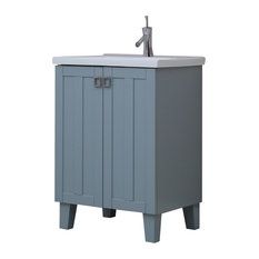 24-inch Solid Wood Sink Vanity With Extra Thick Ceramic Basin Gray Blue