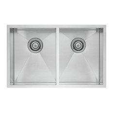 "Blanco 518170 18""x32"" Double Stainless Undermount Kitchen Sink, Satin"
