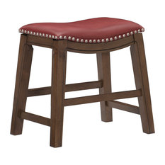 """Yannis 18"""" Height Saddle Stool, Red"""