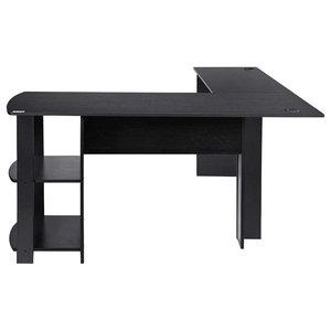 Modern Corner Desk, MDF and Veneer With 2 Open Shelves, L Shaped Design