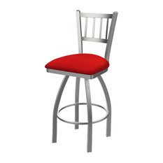 810 Contessa 25-inch Swivel Counter Stool With Stainless And Canter Red Seat