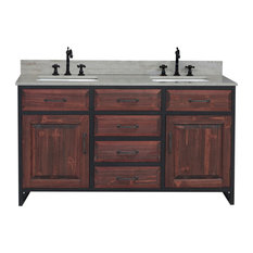 Rustic Double Sink Vanity In With Coastal Sands Marble Top With Rectangular Sink