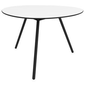 Big Dine A-Lowha Dining Table, White, Black Frame