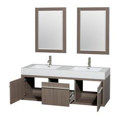 Wyndham Collection Axa 60 Double Bathroom Vanity Gray Oak Acrylic Resin Top