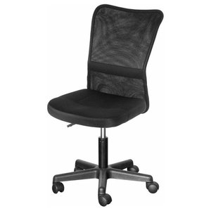 Contemporary Swivel Chair With Lumbar Support and Padded Cushioned Seat, Black
