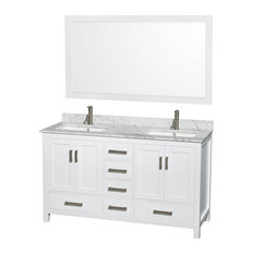 "Wyndham Sheffield 60"" Double White, White Carrera Marble, Square Sink"