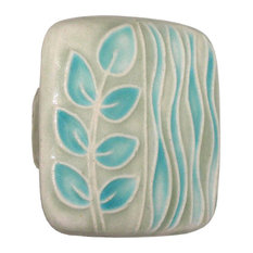 Square Ceramic Branch and Seagrass Knob, Gray and Turquoise