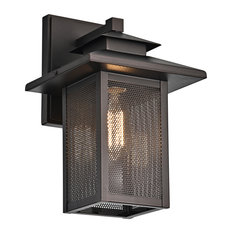 CHLOE Lighting Ironclad Transitional 1-Light Rubbed Bronze Outdoor Wall Sconce