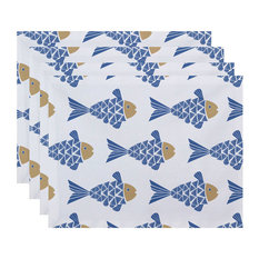 "18""x14"" Fish Tales, Animal Print Placemat, Blue, Set of 4"