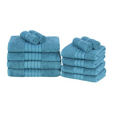 Dreamscene - Towels Bale Set 100% Egyptian Cotton Soft Bath Hand Face 12-Piece, Teal Blue - Bath Towels