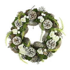 "13"" White Frosted Pine Cone, Roses and Twigs Artificial Christmas Wreath, Unlit"