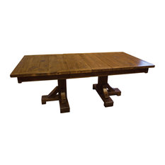 Rustic Barn Wood Style Double Pedestal Extension Table