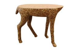 Silk Plants Direct Wood Mosaic Reindeer Table, Pack of 1