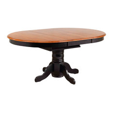 Sunset Trading Butterfly Leaf Pedestal Table | Antique Black & Cherry