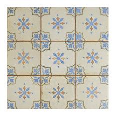"13""x13"" Aragon Ceramic Floor and Wall Tiles, Azul, Set of 10, Azul"