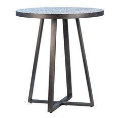 DOVETAIL CARMELO Bistro Table Blue Gun Metal White Black Ceramic