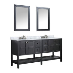 Montaigne 72 in. Black Vanity With Marble Top, Basin and Mirror