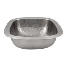 """Solid Copper 18""""x18"""" Extra Large Square Bar/Prep Sink, Satin Nickel Finish"""