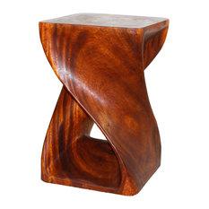"Haussmann Original Wood Twist End Table 15""x15""x23"", Livos Cherry Intensive"