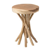 East At Main's Kenton Brown Teakwood Round Accent Table
