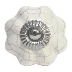 White Crackled Mushroom Ceramic Knob