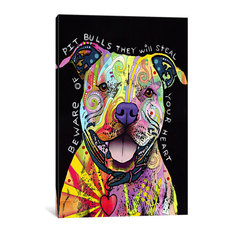 """Beware Of Pit Bulls"" Wrapped Canvas Art Print, 18x12x0.75"