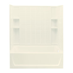"""Sterling  Ensemble 76""""x32""""x60"""" Vikrell Tub/Shower, Biscuit"""
