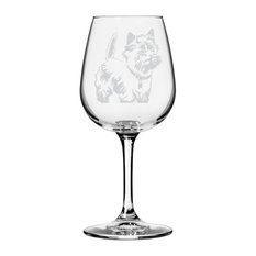 Cairn Terrier Dog Themed Etched All Purpose 12.75oz. Libbey Wine Glass