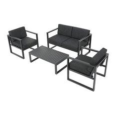 GDFStudio - 4-Piece Nealie Dark Gray Chat Set - Outdoor Lounge Sets