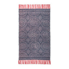 Annecy Hand Woven Printed Rug, 90x150 cm, Blue
