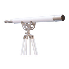 Floor Standing Brushed Nickel With White Leather Anchormaster Telescope 65''