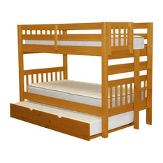 Bedz King Bunk Beds Twin over Twin, End Ladder and a Twin Trundle, Honey
