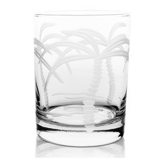 Palm Tree Double Old Fashioned Glasses 14oz, Set of 4