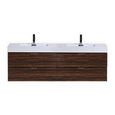 "Bliss 72"" Double Sink Walnut Wall Mount Modern Bathroom Vanity"