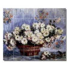 "Claude Monet Flowers Painting Ceramic Tile Mural #24, 25.5""x21.25"""
