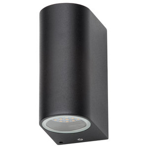 LED Outdoor Up and Down Wall Light, Black