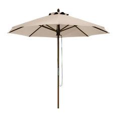 Montlake Fadesafe 9' Round Bamboo Patio Umbrella, Antique Beige