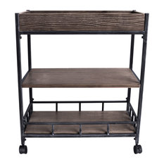 Strider Industrial Kitchen Cart, Industrial Gray and Pine Wood