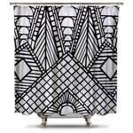 Black and White Roof Peak Shower Curtain, Adult Coloring Book Series, Extra Long - Adult coloring books are all the rage right now. Add to your bathroom decor with this fun conversational piece.