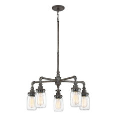 Squire - RK Rustic Black Finish, Chandelier With 5 Lights