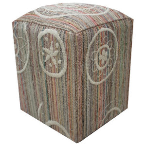 Embroidered Kilim Cube Stool With White Flower