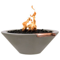 """Cazo 24"""" Concrete GFRC Round Natural Gas Fire and Water Bowl, Ash, Match Lit"""