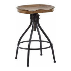 Industrial Bar Stool, Wooden Seat With Adjustable Height