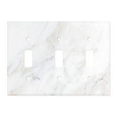 Calacatta Marble Switch Plate Cover, 3 Toggle, Polished, Marble From Italy