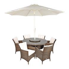 Savannah Stylish Rattan 6-Seat Round Dining Set, 135cm