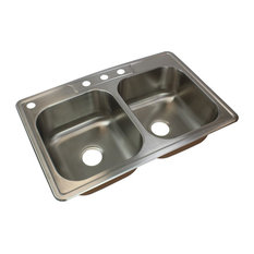 """Transolid - Transolid Classic 33""""x22 1/64""""x8"""" Double Drop-in SS Kitchen Sink - Kitchen Sinks"""
