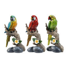 Macaw on Branch Statues, 3-Piece Set