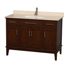 "Hatton 48"" Dark Chestnut Single Vanity With Ivory Marble Top and Square Sink"